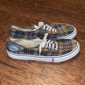 Men's Levi's Plaid Boat Shoes Sz 12